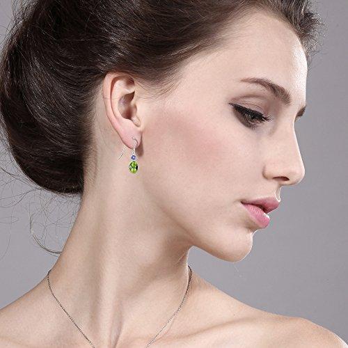 Gem Stone King 2.24 Ct Oval Checkerboard Green Peridot Blue Tanzanite 14K White Gold Earrings