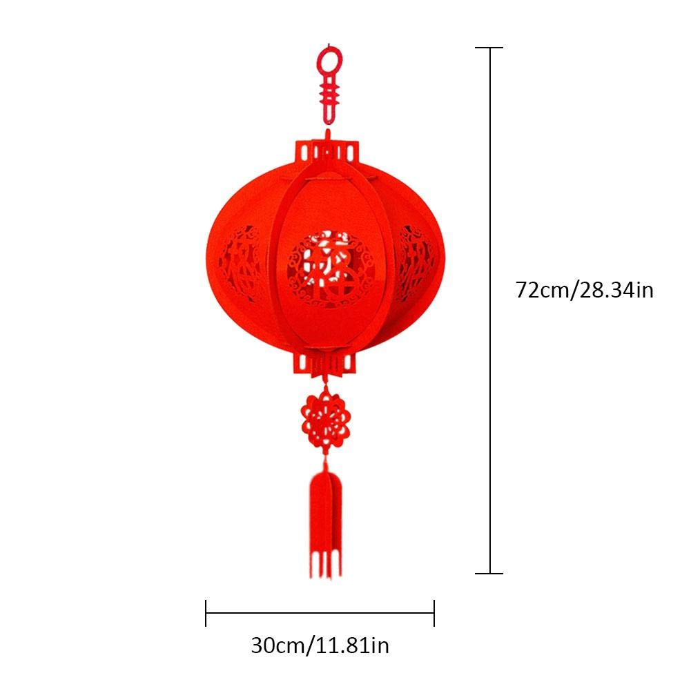 gaeruite 2PCS Non-Woven Chinese New Year Red Paper Lanterns Pendant for Decoration 30x72CM