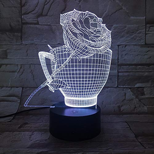 (AAMOUSE Roses Cup 3D Night Light LED 7 Color Changing Romantic USB Table Lamp Acrylic Atmosphere lamp for Home Pty Holiday Decor)