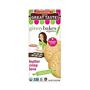 ginnybakes organics, Organic Gluten Free Cookies, Butter Crisp Love, 5.5 Ounce