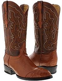 Men's Cognac All Real 3 Piece Ostrich Skin Cowboy Boots J Toe