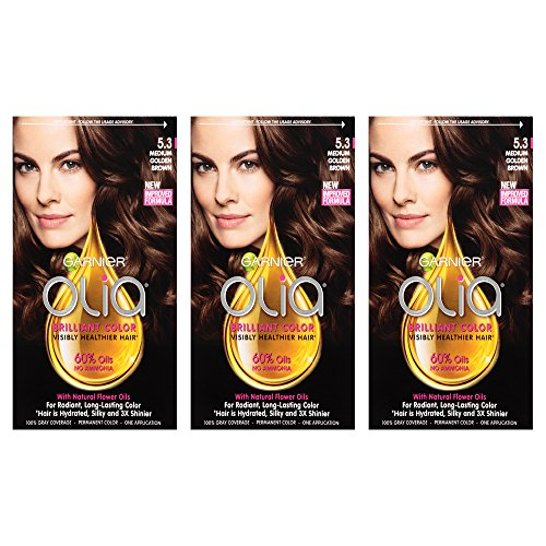 Garnier Hair Color Olia Oil Powered Permanent Hair Color, 5.3 Medium Golden (Pack of 3) (Packaging May Vary)
