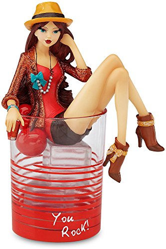 Pavilion Gift Company Hiccup by H2Z 7-3 4-Inch You Rock Cocktail Glass with Tall Manhattan Girl