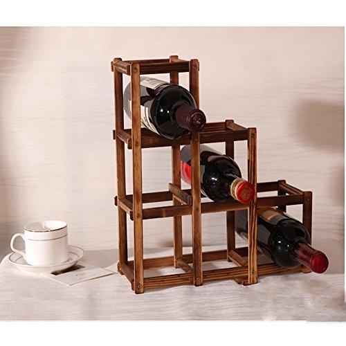 UONQD Wine Rack Wooden Folding Free Standing Bottles Bar Kitchen Wood Stand (B, Brown) - Kitchenaid Outdoor Refrigerator