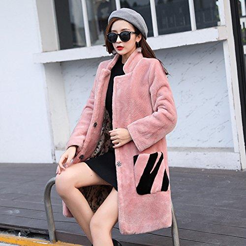 DYF Collar S sleeve Women Windbreaker Long Pink button length Pocket Medium Coat FwFra