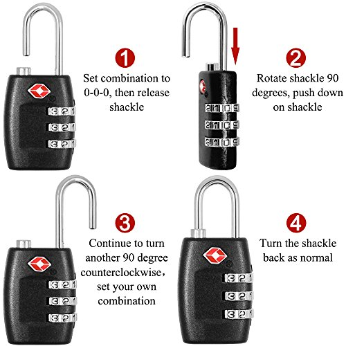 DanziX TSA Approved Lock and 4 Colors Stainless Steel Safety Tether,3-Dial Combination Travel Luggage Lock with Lanyard Security Cable for Protect your Different Sizes of Bags,Suitcase,Baggage by DanziX (Image #4)