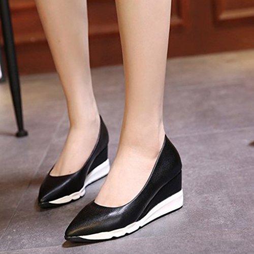 Con Profunda Cuñas Plataforma Zapatos Altos Impermeable Muffins Boca De Cómodos Antideslizante De Black Tacones Plataforma Zapatos Poco Microfibra Swqw0t