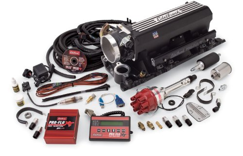 - Edelbrock 35583 Pro-Flo XT Electronic Fuel Injection Kit Incl. Pro-Flo XT EFI Man./90mm Throttle Body/Fuel Rails/Fuel Inj./ECU/Calib. ModFor BBC w/Rect Ports/9.8in Deck Ht.Up To 550 HPBlack Pro-Flo XT Electronic Fuel Injection Kit