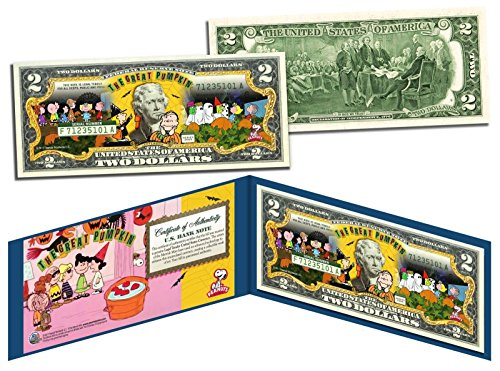 PEANUTS Charlie Brown-Linus HALLOWEEN THE GREAT PUMPKIN LICENSED $2 BILL! for $<!--$22.99-->