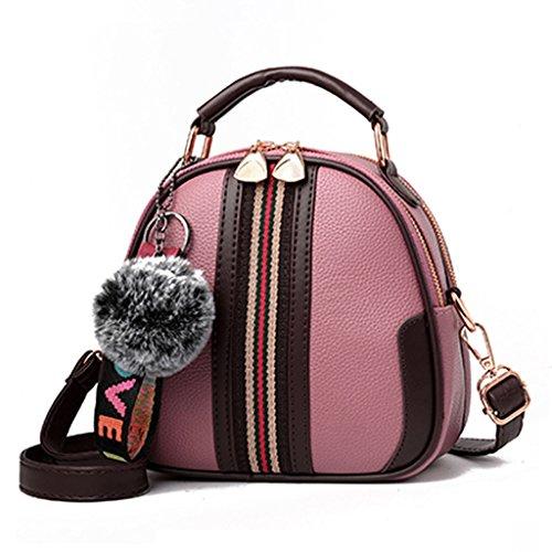 Bolso de cuero de la PU, el bolso de hombro más popular de las mujeres, bolso de mensajero dulce del hombro de la manera (Color : Amarillo) Pink
