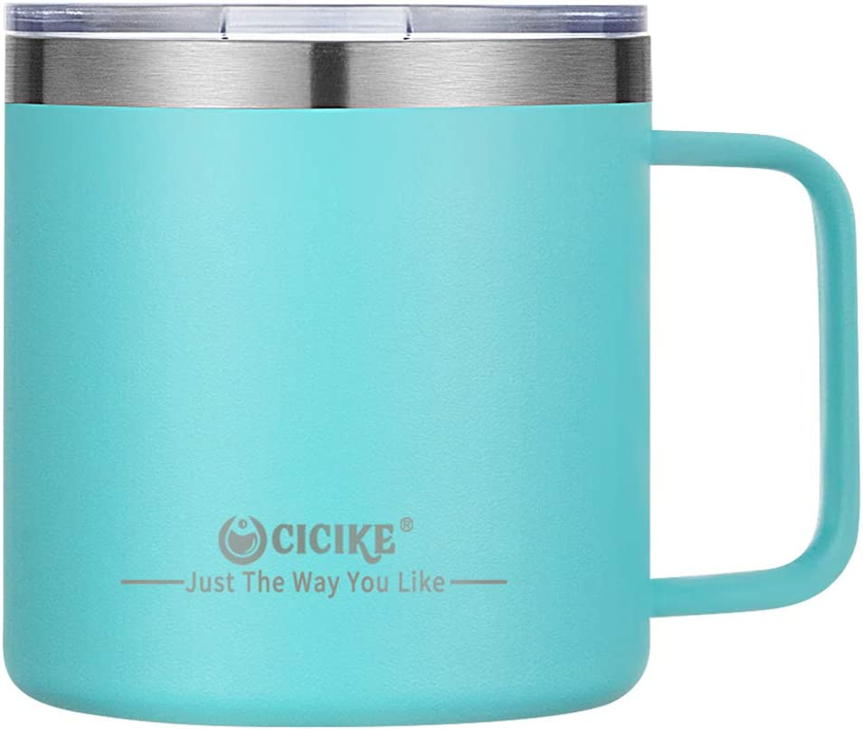 Insulated Coffee Mug with Handle, Stainless Steel Tumbler, Travel Coffee Mug, Coffee Cups with Lid, Camping Gift for Men and Women, Keep Hot or Cold for Hours