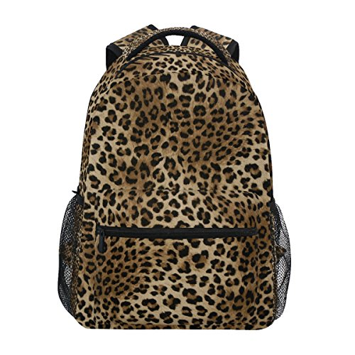 ZZKKO Leopard Print Vintage Boys Girls School Computer Backpacks Book Bag Travel Hiking Camping Daypack