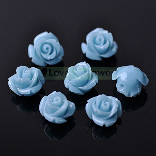 10pcs 10mm Synthetic Coral Resin Rose Flower Loose Beads Crafts DIY (Resin Beads Strands)
