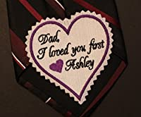 """Dad I loved you first wedding heart Tie Patch, tie label - IVORY, 3"""" wide. Beautiful Monogrammed Tie Patches. Father of the Bride Gift, Embroidered tie patch, dress label, personalized TSH21"""