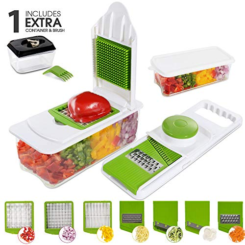 Mastertop 7 In 1 Mandoline Slicer for Fruits and Vegetables with 7 Interchangeable Stainless Steel Blades and 0.45L Food Storage Container