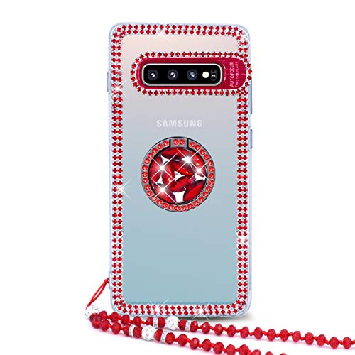 Omio for Galaxy S10 Plus Clear Diamond Case 3D Glitter Bling Sparkle Handmade Shiny Jewelry Stone Luxury Rhinestone Girl Cover Case with Ring Stand Bead Chain Strap Crystal Bumper Case for Galaxy S10+ ()