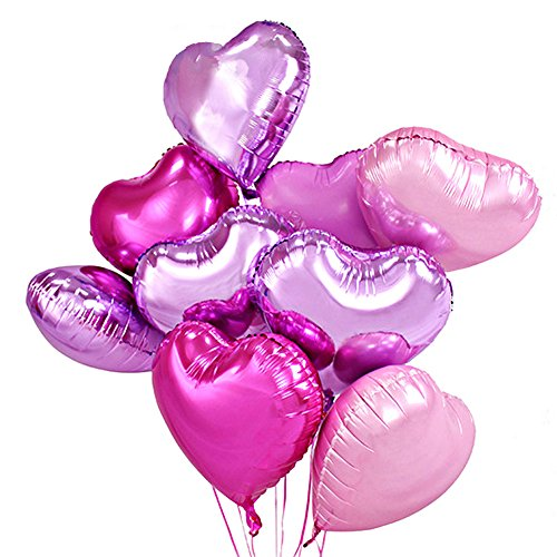 Pink Foil Heart - 18 Inch Hearts Shaped Foil Balloons, Valentines Day Wedding party decorations ornaments supplies - 12 ct, 4 Colors