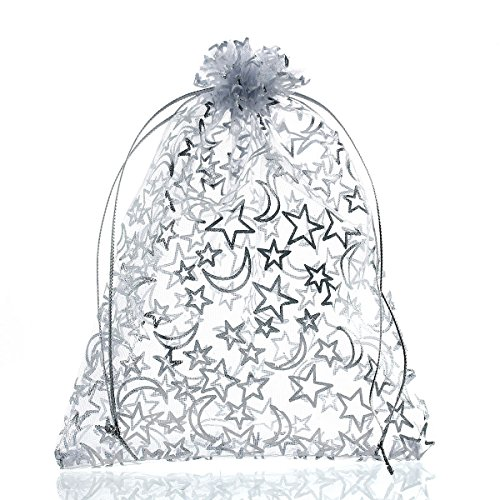 20Pcs/lot Organza Gifts Bags - Satin Drawstring-Star Moon White Organza Bag-Christmas and Wedding Party Favor Gift Bag- Marbles Coins Bags