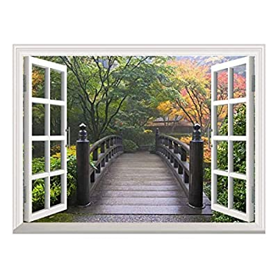 Beautiful Visual, White Window Looking Out Into a Bridge on a Japanese Garden Wall Mural, Classic Artwork