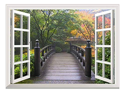 White Window Looking Out Into a Bridge on a Japanese Garden Wall Mural