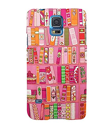 Blue Throat Animated Pink Bookshelf Arrangement Back Case Cover For Samsung Galaxy S5
