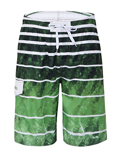Nonwe Men's Beachwear Quick Dry Striped Swim Trunks Green Pattern 38