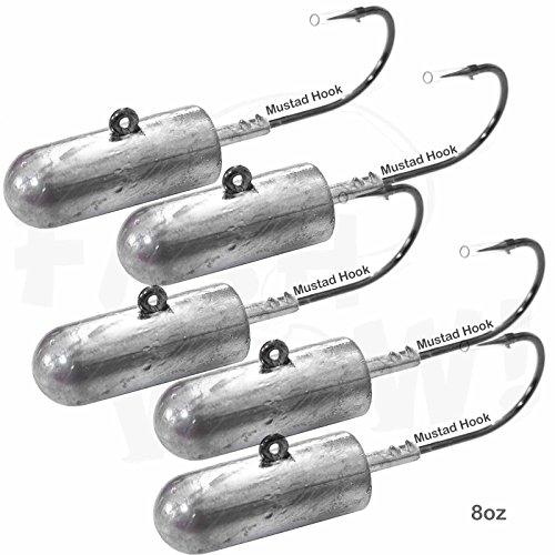 (Fish WOW! 5pcs 8oz Bullet Jighead with 32786 MUSTAD 10/0 Hook 2X Strong Black Nickel Hooks unpainted Jig Heads -)