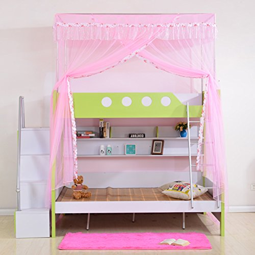 SIOFSVDFDFASDD Square netting curtains,Drawstring netting curtains,Bunk bunk bed netting bedding Stair bed canopy Student bunk bed nets one bed nets-E (String Bed Canopy)