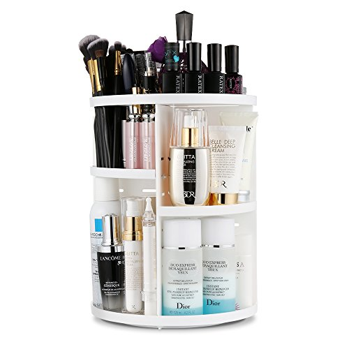 Jerrybox Makeup Organizer, 360° Rotating Cosmetics Organizer Adjustable Makeup Carousel for Countertop, Large Capacity, 7 Layers, Round, White (Vanity Organizer Bathroom)