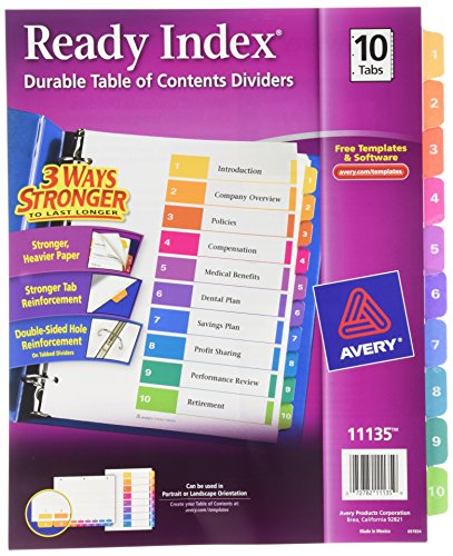 Avery ready index table of contents dividers 10 tab set for Avery table of contents template 10 tab