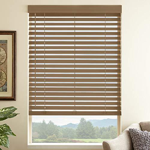 Maple 2-1/2 in. Premium Faux Wood Blind – 31 in. W x 72 in. L