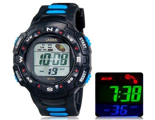 LASIKA F72 Ronda digital reloj deportivo con correa de plastico, Semana Display & (azul