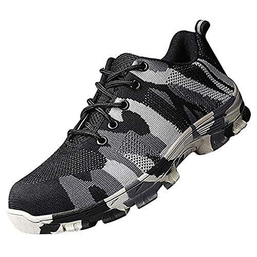 KINGLEN Work Safety Shoes, Steel Toe Puncture Camouflage Military Indestructible Construction Breathable for Men and Women (11.5-12 Men, Grey)