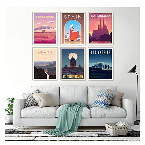 Feitao Poster De Ciudades De Viaje Espana Quebec Tanzania Venecia Nueva Zelanda Paisaje Arte Lienzo Pintura Cuadros De Pared -16X24 Pulgadas Sin Marco 6 Piezas