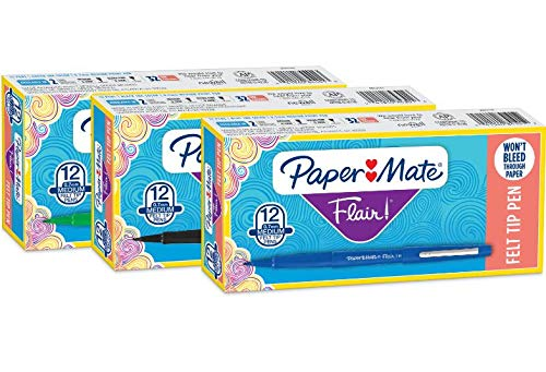 Paper Mate Flair Felt Tip Pens, Medium Point (0.7mm), 12 Green, 12 Blue & 12 Black, Total of 36 Pens by Paper Mate (Image #5)