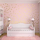 Slivercolor Polka Dot Stickers,Removable Dot Sticker,Gold Circle Wall Decals ,Vinyl Art Decor spots for Children's Room Decoration, 1.2 inch, 216 points