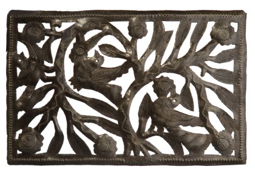 Le Primitif Galleries Haitian Recycled Steel Oil Drum Outdoor Decor, 12 by 6-Inch, Rectangle Tree of Life