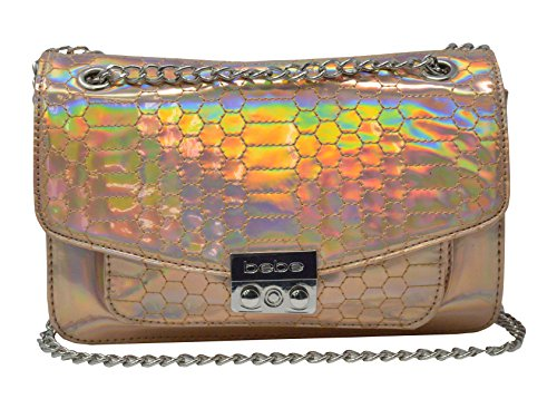 Bebe Clutch (bebe Holographic Ona Quilted Chain Crossbody Purse (Blush))