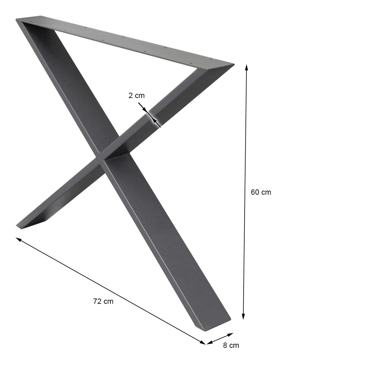 con protecci/ón para Suelo ECD Germany 2x Patas de mesa 30 x 43 cm acero juego de patas de mesa pies de mesa gris dise/ño industrial