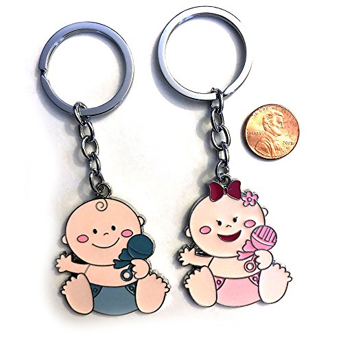 (Baby Shower Favors Pink Baby Girl Blue Baby Boy Keychain Party Gift Set (12 Pieces, Blue Boy) )