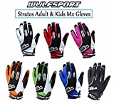 WULFSPORT STRATOS MOTORBIKE ADULT & KIDS MX GLOVES Motocross Sports Off Road Trials Enduro Quad Kart Dirt Bike Cycle ATV MTB BMX Race Adult & Junior Gloves - White - XS