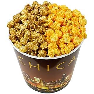 Signature Popcorn - Gourmet Half Caramel Half Cheddar Cheese Flavor - 1-Gallon Gold Chicago Skyline Reusable Plastic Tin - Best Seller