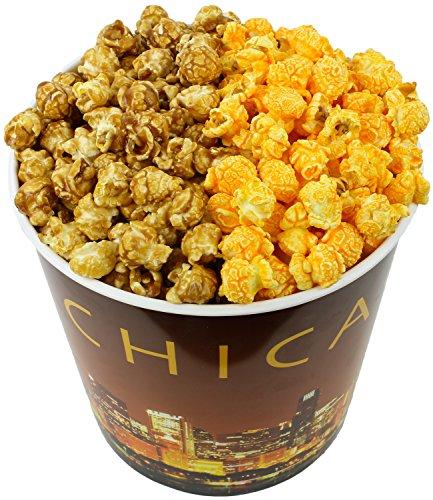 (Signature Popcorn - Gourmet Half Caramel Half Cheddar Cheese Flavor - 1-Gallon Gold Chicago Skyline Reusable Plastic Tin - Best Seller)
