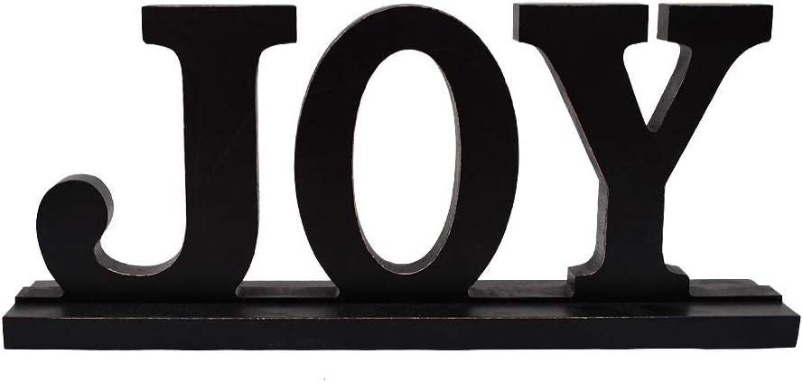 Kilipes Wood Joy Sign Tabletop Joy Letters Sign Freestanding Wooden Cutout Word Decor Decorative Mantel Signs for Home Decor (Black(Joy))