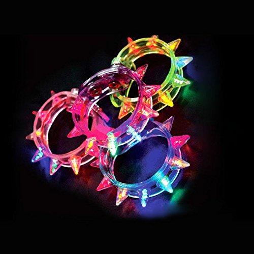 Flashing LED Light-up Spike Bracelets (1 Dozen - 12 Pcs) ()