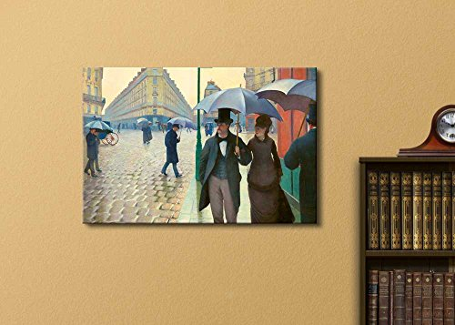 Paris Street; Rainy Day by Gustave Caillebotte Famous Fine Art Reproduction World Famous Painting Replica on Print Wood Framed