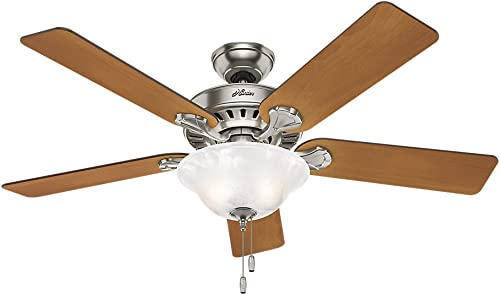 Hunter Buchanan Indoor Ceiling Fan with Light and Pull Chain Control, 52 , Brushed Nickel