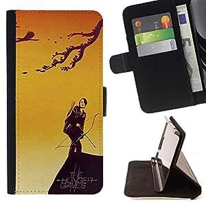 /Skull Market/ - CATNISS & BOW - HUNGER For Apple Iphone 5 / 5S - Caja de la carpeta del tir???¡¯???€????€?????????&Ati