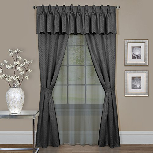 Achim Home Furnishings Claire, Window In A Bag 6Piece Curtain Set, 55