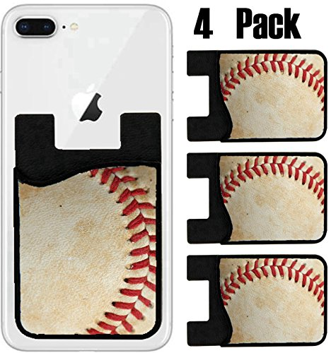 (MSD Phone Card holder, sleeve/wallet for iPhone Samsung Android and all smartphones with removable microfiber screen cleaner Silicone card Caddy(4 Pack) Close up of a baseball threads with room for co)